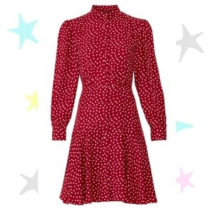 Rebecca Taylor Button Front Heart Dress w/ Sleeves